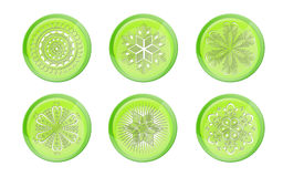 Green snowflakes button Royalty Free Stock Photography