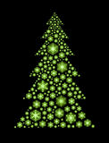 Green snowflakes tree. Glowing green snowflakes in the shape of Christmas tree Stock Photos