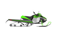 Green snowmobile on a white background. Transport for extreme wi Stock Photography