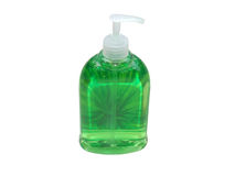 Green soap. In container with clipping path stock photos