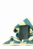 Green soap bar. On  bath towel Stock Photos