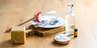 Green soap, essential oils and baking soda for DIY cleaning Royalty Free Stock Image
