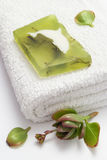 Green soap on white towel. Home spa with algae soap on white towel and green leaf stock images