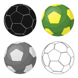 Green soccer ball icon in cartoon style isolated on white background. Brazil country symbol stock vector illustration. Royalty Free Stock Photography