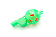 Green Soccer Ball Whistle Royalty Free Stock Photography
