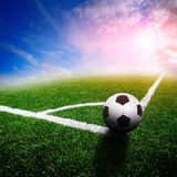 Green soccer field Stock Photo