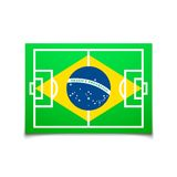 Green soccer field, brazil flag Royalty Free Stock Photos