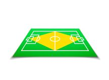 Green soccer field, brazil flag. Vector background illustration Royalty Free Stock Photo