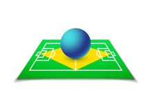 Green soccer field, brazil flag Royalty Free Stock Images