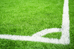 Green soccer field with conner Royalty Free Stock Images
