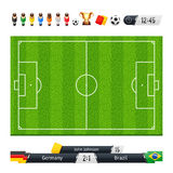 Green Soccer Field with Statistics Elements Stock Images
