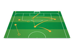 Green soccer field with tactic table. Stock Photos