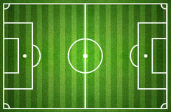 Green soccer field from top view Royalty Free Stock Images