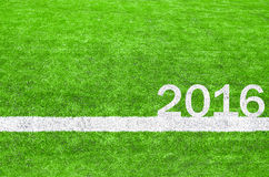 2016 on the green soccer field.