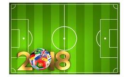 Green soccer football field 3D Illustration. Design Royalty Free Stock Photo