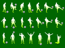Green Soccer Player Silhouette Collection. 