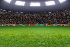 Soccer stadium. Green soccer stadium, illuminated field, arena in night Royalty Free Stock Photography