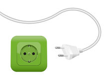 Green Socket Energy Environment Power SCHUKO. Green socket, symbol for clean eco power and green energy - SCHUKO connector system Stock Images