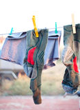 Green socks to dry Stock Photo