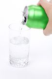 Green soda can and glass Royalty Free Stock Image