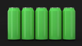 Green soda cans standing in two raws on black background. Big and small green soda cans standing in two raws on black background. Beverage mockup. Tin package of Royalty Free Stock Photos