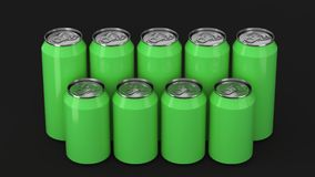 Green soda cans standing in two raws on black background. Big and small green soda cans standing in two raws on black background. Beverage mockup. Tin package of Stock Image
