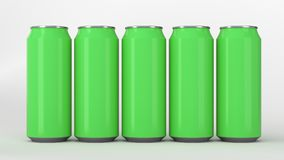 Green soda cans standing in two raws on white background. Big and small green soda cans standing in two raws on white background. Beverage mockup. Tin package of Stock Image