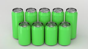 Green soda cans standing in two raws on white background. Big and small green soda cans standing in two raws on white background. Beverage mockup. Tin package of Stock Photo