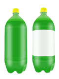 Green soda drink in two liter plastic bottles. Refreshing green soda drink in two liter plastic bottles isolated on white background. Highly detailed Royalty Free Stock Photography