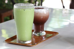 Green soda smoothie. And Coco Coffee Royalty Free Stock Images