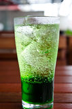 Green soda syrup mixture. Royalty Free Stock Images