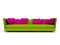 Green sofa. Big sofa for six person Stock Photo