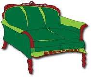 Green Sofa. Hand drawn sofa,digitally coloured and created by myself.RGB colour mode,300 dpi, Jpeg Royalty Free Stock Photos