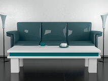 Free Green Sofa And Coffee Table In The Dining Room Royalty Free Stock Images - 14850619