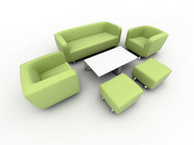 Green sofa and armchairs Royalty Free Stock Photo