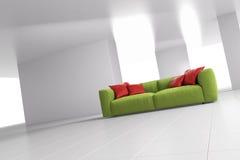 Green sofa in bright room angular Royalty Free Stock Photo