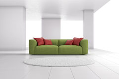 Green sofa in bright room closeup Royalty Free Stock Photography