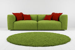 Green sofa with carpet closeup Royalty Free Stock Images