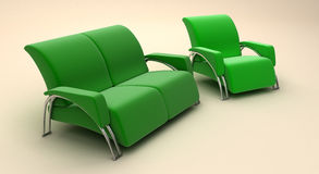 Green sofa and chair Royalty Free Stock Images