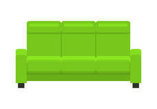 Green sofa. Classic cozy couch. Stock Photo