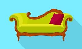 Green sofa icon, flat style vector illustration