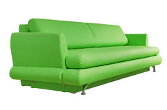 Green sofa isolated on white Stock Photos