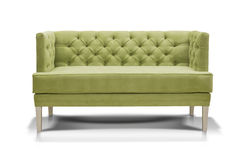 Green sofa isolated on white background. Front view Royalty Free Stock Image