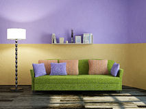 Green sofa and lamp Stock Images