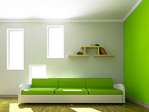 Green sofa and  in the livingroom Royalty Free Stock Images