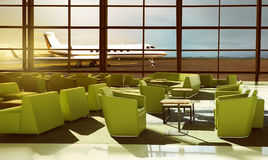 Green sofa on the luxury airport lobby Stock Images
