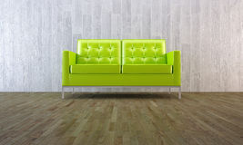 Green sofa in minimal style Stock Image