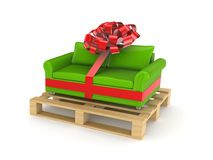 Green sofa on pallet. Isolated on white background.3d rendered Royalty Free Stock Images
