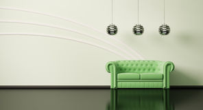 Green sofa in room 3d Royalty Free Stock Image
