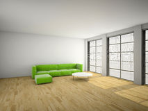 Green sofa in the room 3d rendering Stock Image